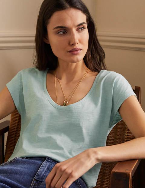 Das Baumwoll-T-Shirt mit abgerundetem V-Ausschnitt - Seeblau