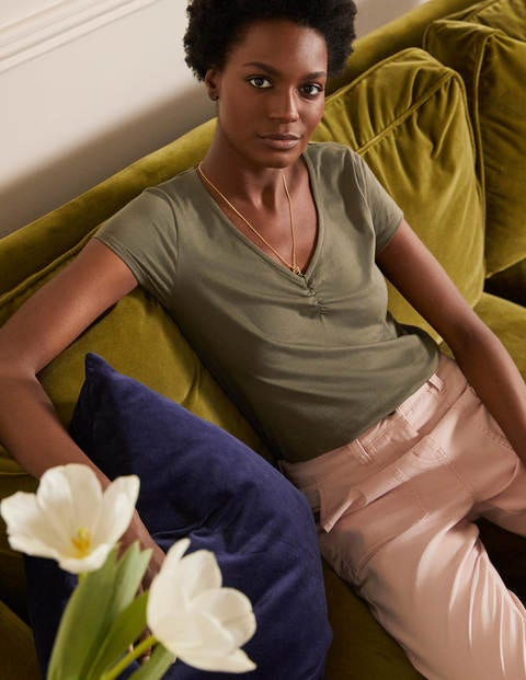 Supersoft Ruched V-neck Tee - Classic Khaki