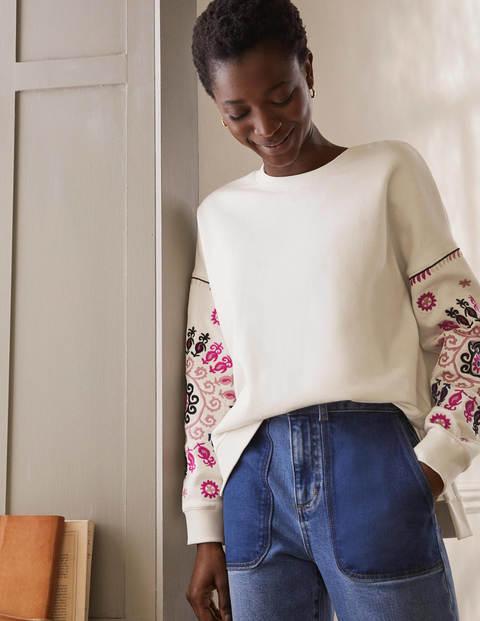 Jasmine Sweatshirt - Naturweiß/Bunt, Stickerei