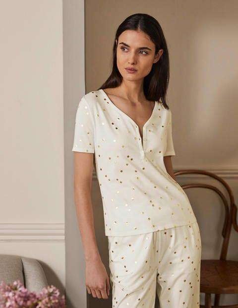 Emma Short Sleeve Pyjama Top - Ivory, Scattered Spot