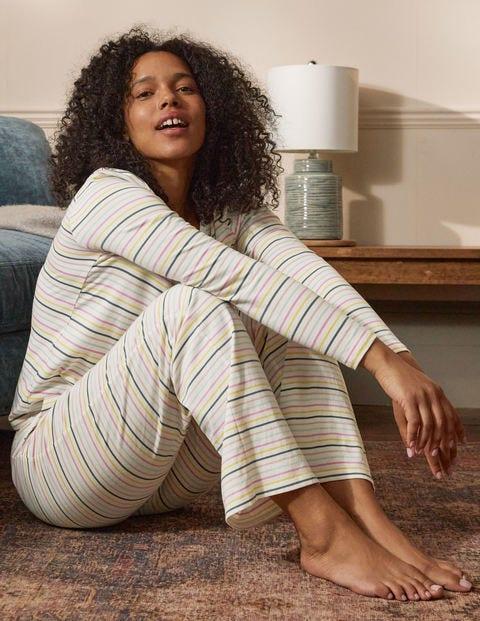 Emma Pajama Bottoms - Pale Lemon and Heath Stripe