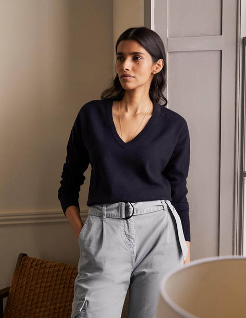 Cashmere V-neck Relaxed Jumper - Sapphire Blue