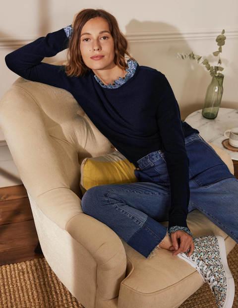 Lydia Woven Frill Sweater - Navy