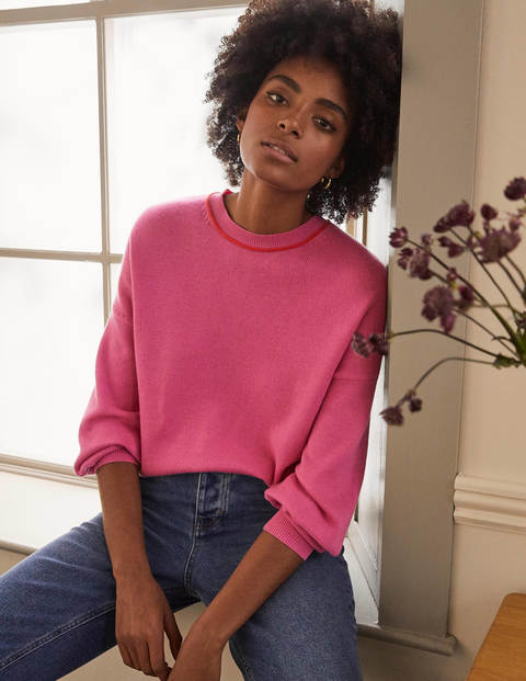 Oversized Crew Neck Jumper - Candy Pink