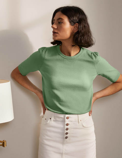 Cotton Crew Knitted Top - Duck Egg