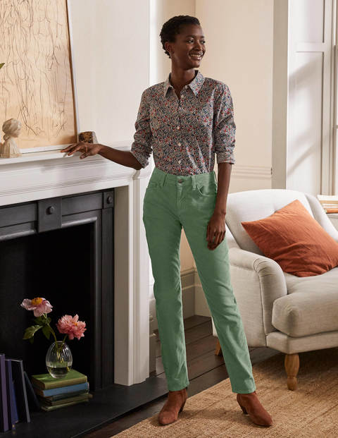 Cord Girlfriend Jeans - Light Olive