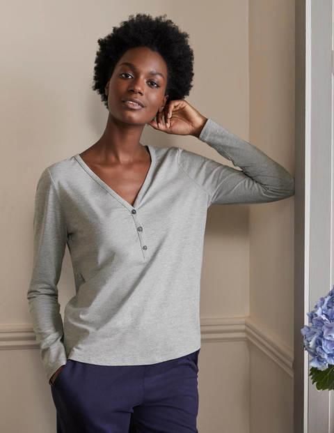 Emma Long Sleeve Pyjama Top - Grey Marl