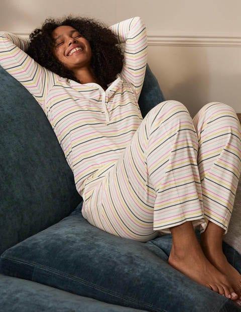 Emma Long Sleeve Pyjama Top - Pale Lemon and Heath Stripe
