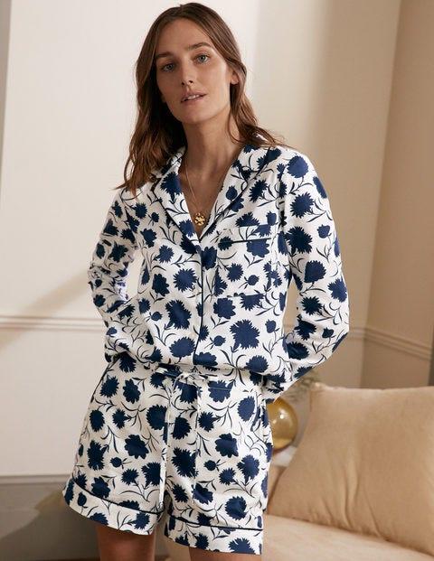 Janie Pyjama Shirt - Ivory, Leafy Bud