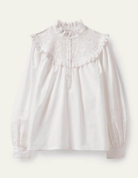 Broderie Frill Cotton Shirt