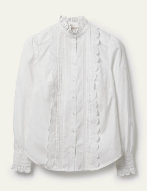 Broderie Ruffle cotton Shirt
