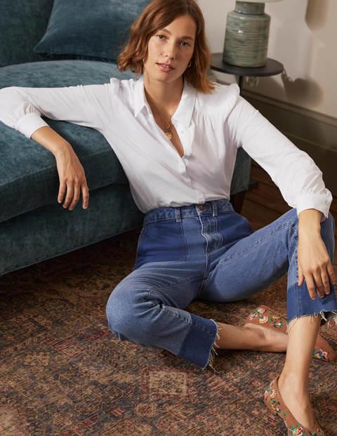Gathered Detail Jersey Shirt - White