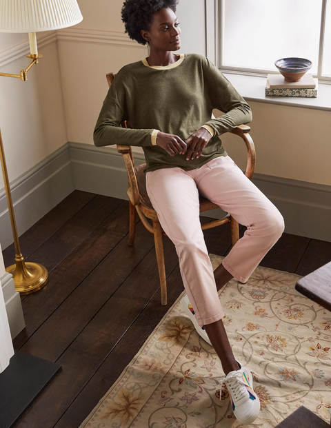 Linen Sparkle Long Sleeve Tee - Classic Khaki