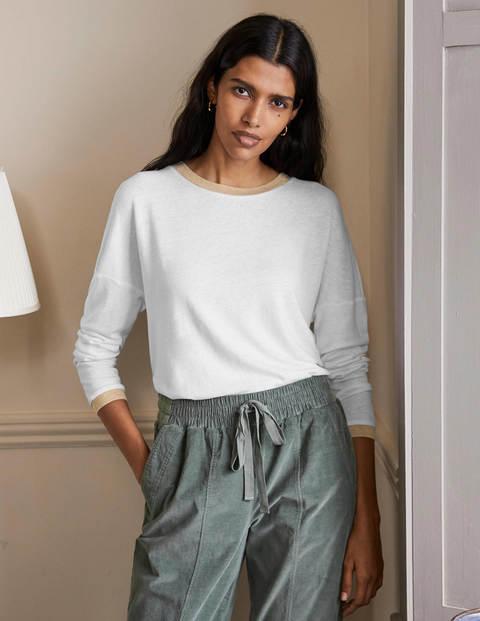 Linen Sparkle Long Sleeve Tee - White