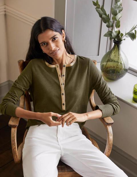 Henley-T-Shirt aus Leinen mit Glitzer - Klassisches Khaki
