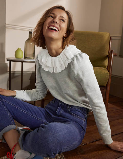 Hattie Collar Sweatshirt - Grey Marl