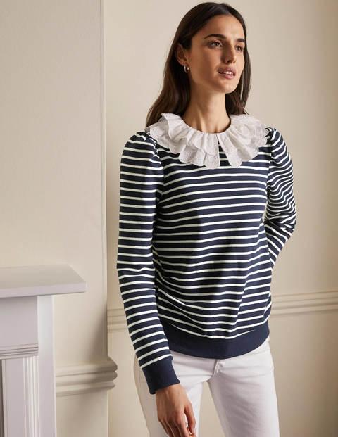 Hattie Sweatshirt mit Kragen - Navy/Naturweiß