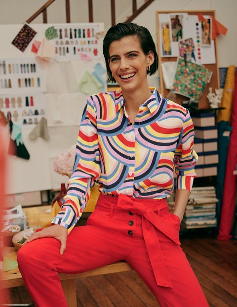 The Silk Shirt - Ivory, Abstract Rainbow