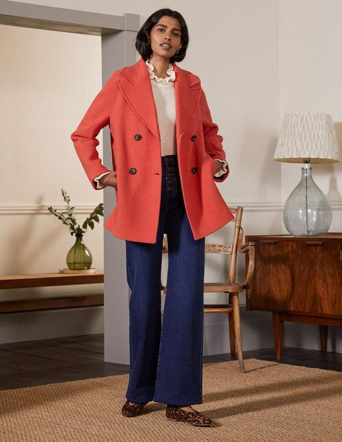 Strukturierter Carcoat aus Wolle RED Damen Boden, RED