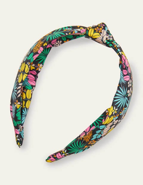 Knotted Headband - Black, Jungle Floral