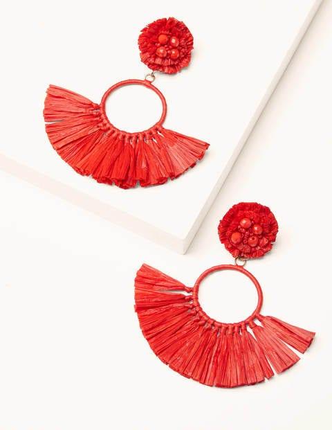 Raffia Tassel Ring Earrings