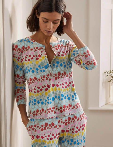 Alba Jersey Pyjama Top - Multi Rainbow Leopard