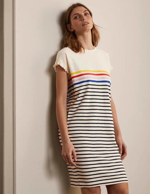 Faye Jersey T-shirt Dress - Ivory, Multi Stripe