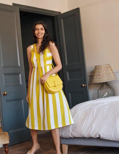 Lucy Jersey Stripe Dress - Chartreuse Ivory Stripe