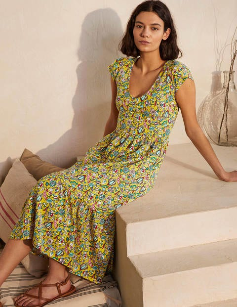 Voop Cotton Tiered Dress - Daffodil, Kaleidoscopic Floral