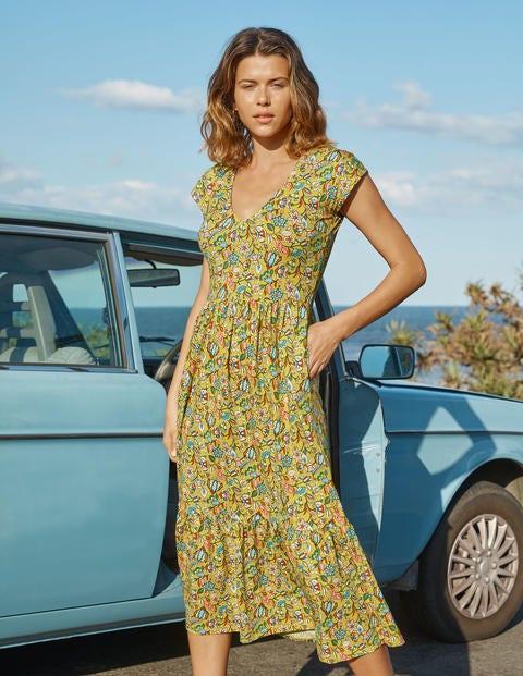 Baumwoll-Stufenkleid mit rundem V-Ausschnitt