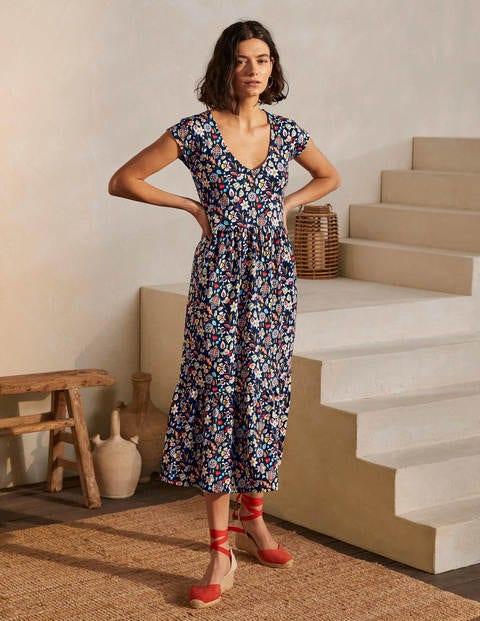 Voop Cotton Tiered Dress - Navy, Kaleidoscopic Floral