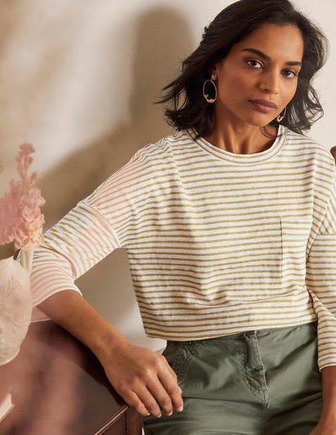 Ottilie Linen Jersey Top - Gold/ Ivory