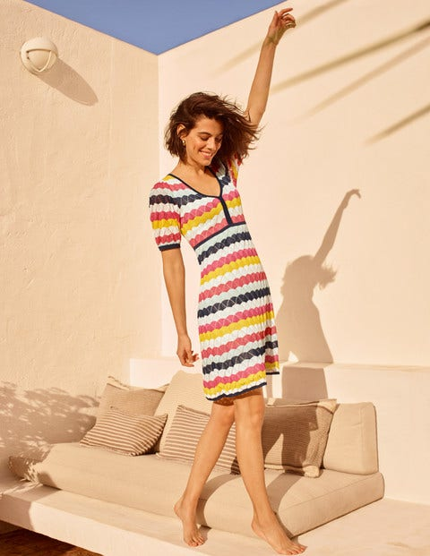 Margie Knitted Dress - Surf and Party Pink Stripe