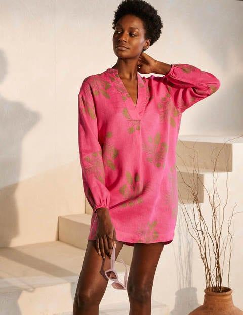 Hannah Linen Shirt - Party Pink, Jungle Bouquet