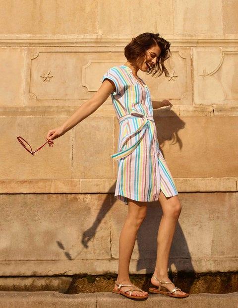 Evie Linen Shirt Dress - Multistripe