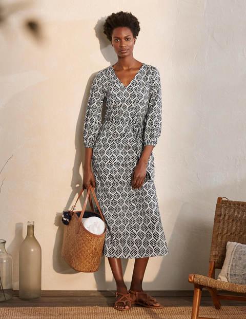 Daria Midikleid aus Baumwolle - Naturweiß, Palmenkachel