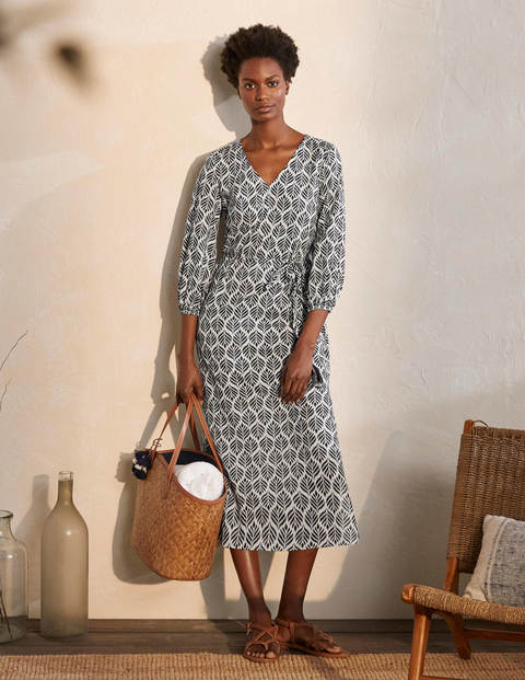 Daria Cotton Midi Dress - Ivory, Palm Tile