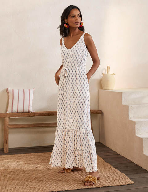 Alicia Maxi Dress - Ivory, Paisley Stamp