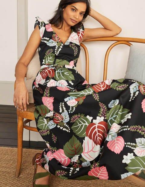 Robe longue Andrea à manches volantées - Noir, motif Holiday Tropic
