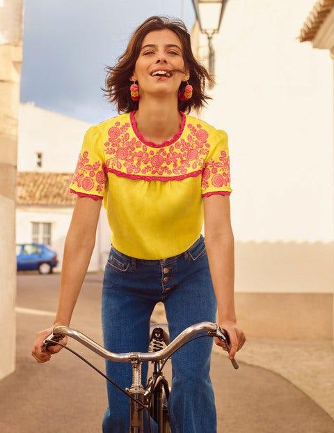 Cornelia Embroidered T-Shirt - Yellow/ Pop Pansy