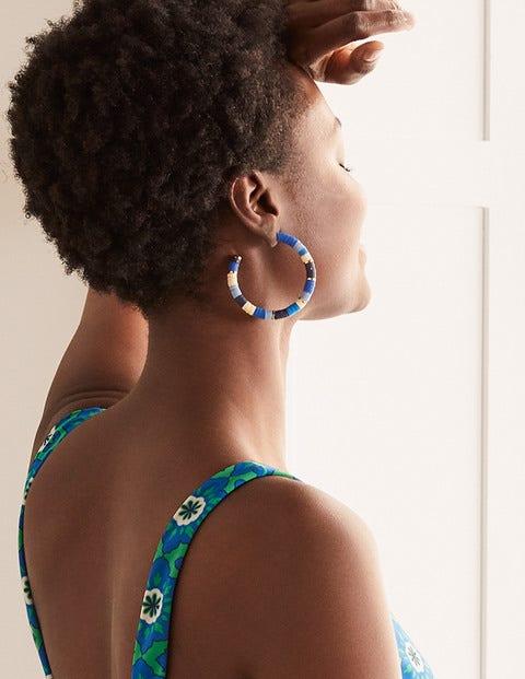 Beaded Hoop Earrings - Moroccan Blue