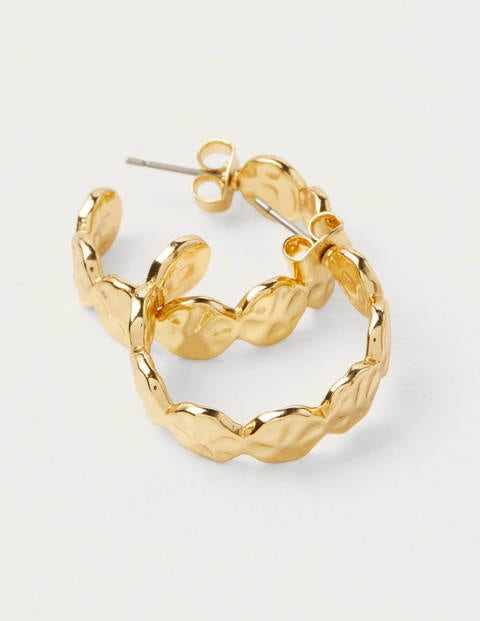 Hammered Disk Hoops - Gold Metallic