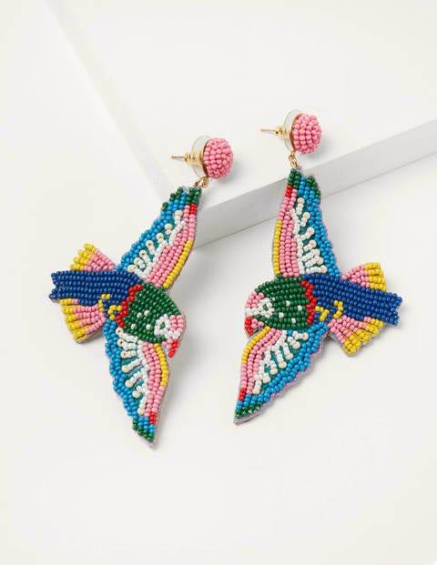 Boucles d'oreilles oiseaux en perles - Multi
