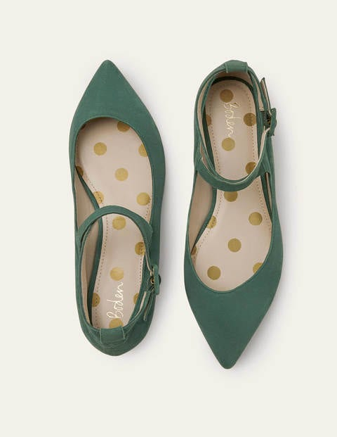 1960s Style Clothing & 60s Fashion Flora Flats Green Women Boden Green £90.00 AT vintagedancer.com