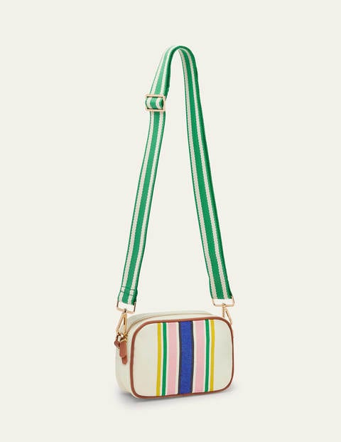 Olivia Canvas Crossbody Bag - Ivory Stripe