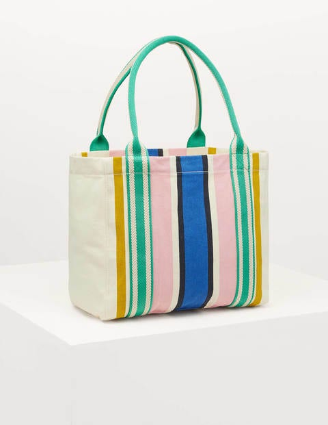 Olivia Canvas Tote - Ivory Stripe