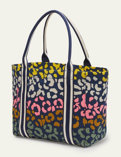 Olivia Canvas Tote - Navy Multi Leopard