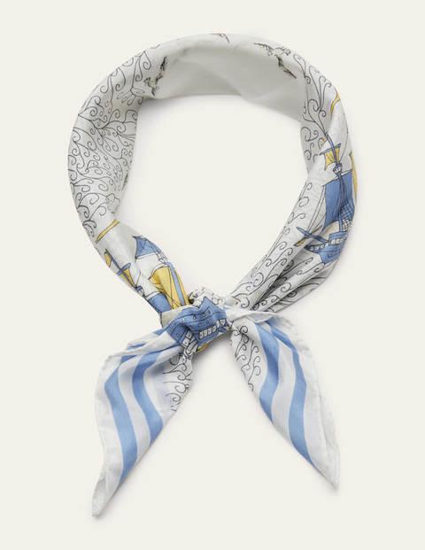 Silk Neckerchief - Ivory, Nautical Voyage