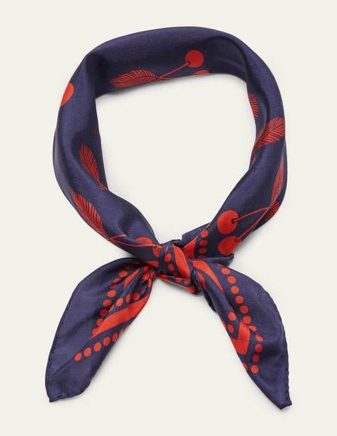 Silk Neckerchief - French Navy, Cherry Bunch