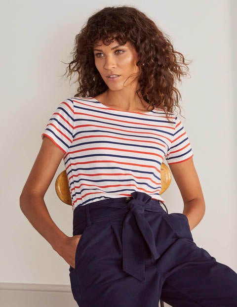 Short Sleeve Breton - Cherry Red/ Blue